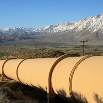 Oil pipeline heading into the mountains