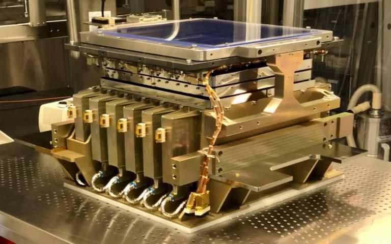 O plano focal do instrumento VIS, com 36 sensores CCD. Créditos: CEA.