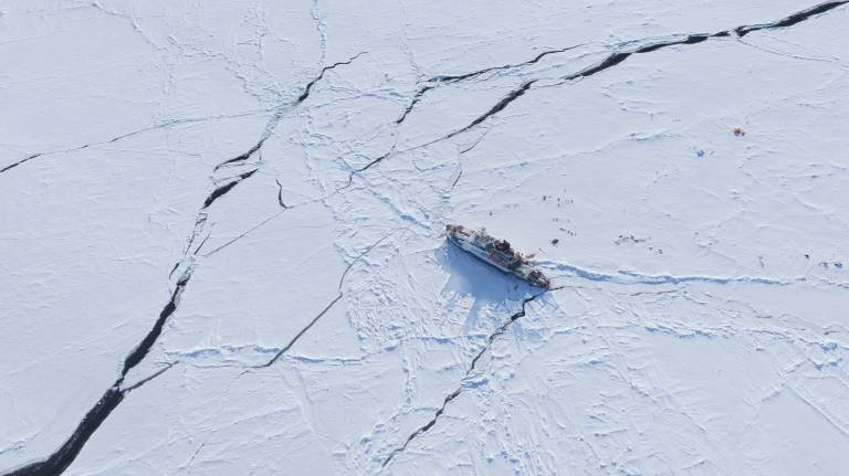 The research vessel Polarstern drifting in ice in the Arctic Ocean.