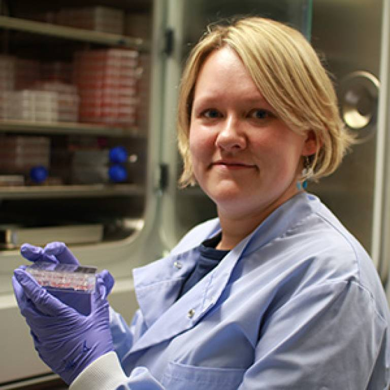 Dr Selina Wray with some of her stem cells