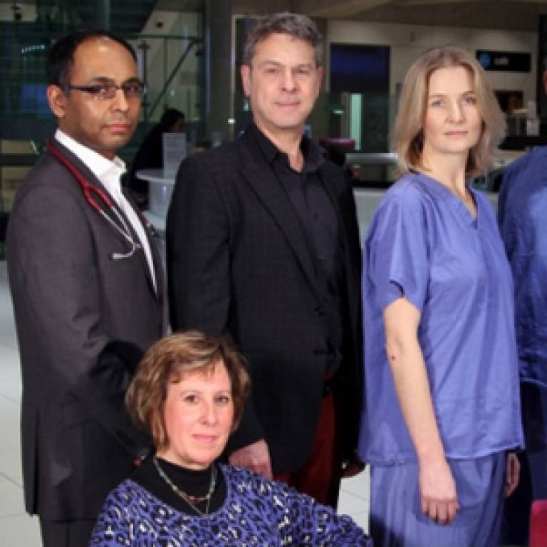 Dr Rakesh Popat, Consultant Haematologist at UCH, Honorary Clinical Senior Lecturer at the UCL Cancer Institute; Jeffery Sugarman, patient; Dr. Louise Dickinson, Clinical Fellow in Urology UCH; Debra Cox, patient