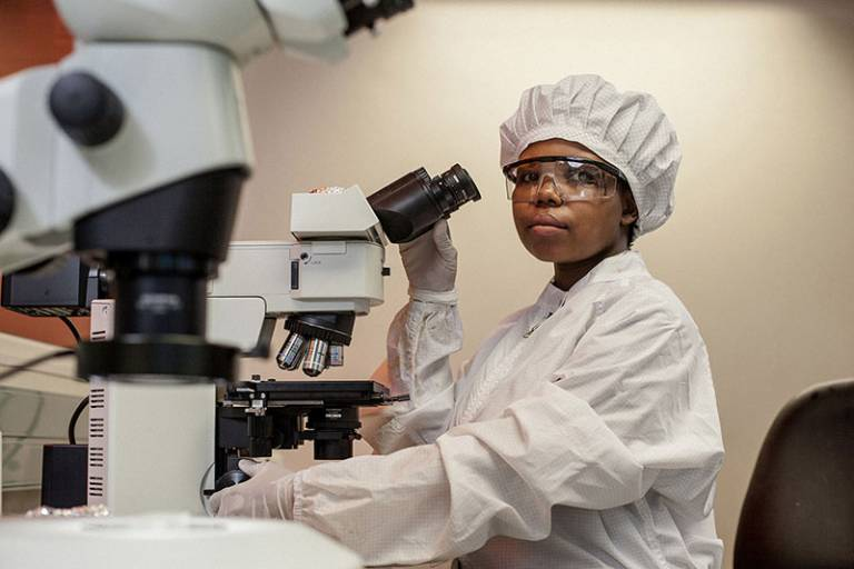 PhD student Bonisile Luthuli at the AHRI