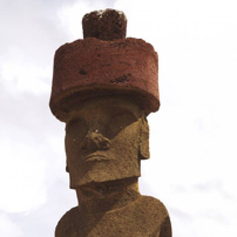 Easter Island statue with distinctive red 'hat'
