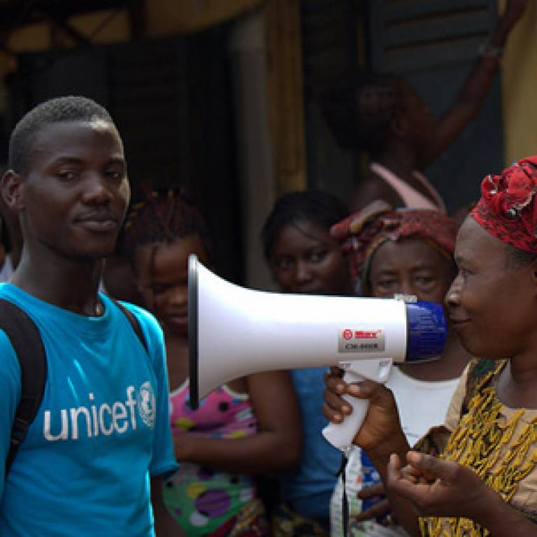 As part of the Ebola sensitization, UNICEF asked community members to repeat what they have learned about Ebola