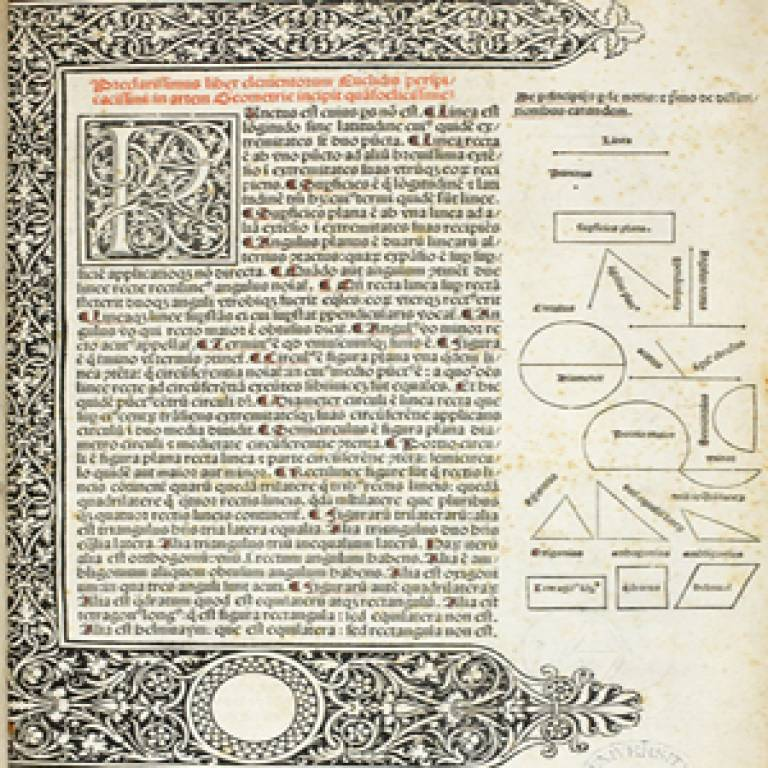 The first printed edition of Euclid, translated by Adelardus of Bath and with the commentary of Novarese.