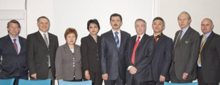 Professor Michael Worton with Mr Farkhad Kuanganov, Dr Richard Hopper and members of the Kazakh Delegation