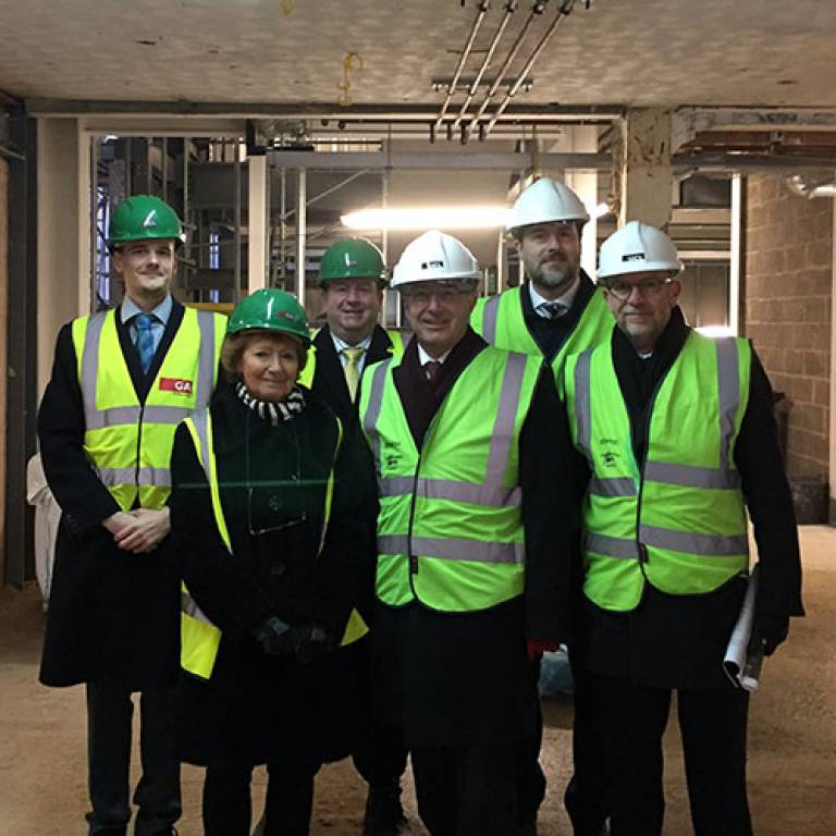 UCL Laws Dean Dame Hazel Genn with the Provost and UCL Estates team