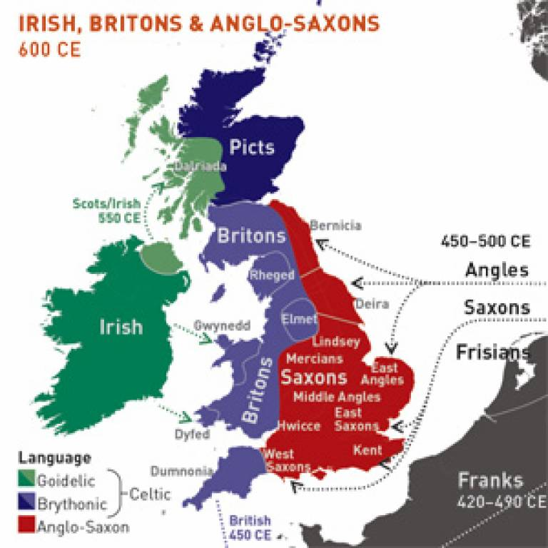 The regions of ancient British, Irish and Saxon control in the 7th Century