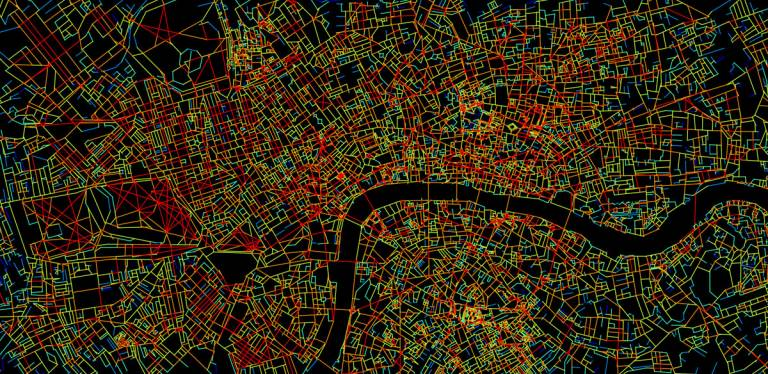 Space syntax map of London showing degree centrality