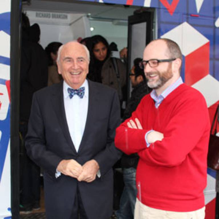 Lord Young & Timothy Barnes in UCL Quad