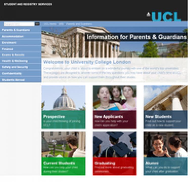 UCL parents website screenshot