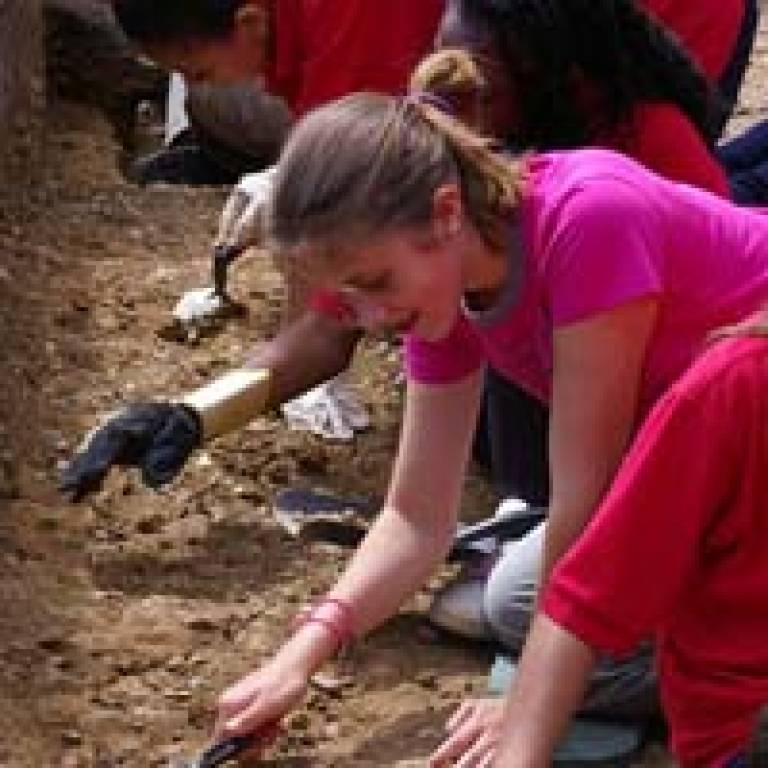 Pupils excavating on the site of John Norden's house