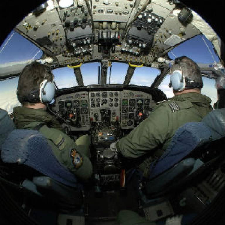 300sq RAF Pilot Training in Cockpit of Nimrod Aircraft