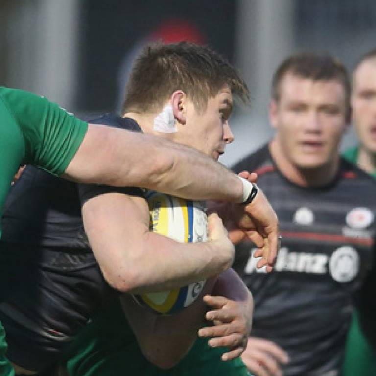 Saracens players wear patches in games and training