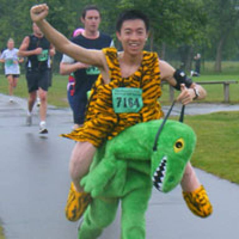 A UCL Friends of MSF runner, Ken To, in costume! Credit: Sarah-Jane Turner