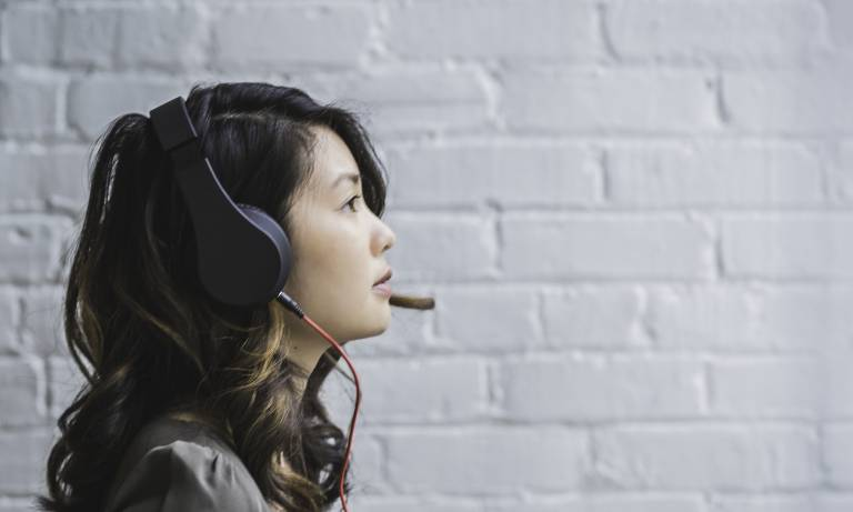 Woman listening with headphones