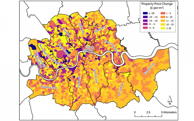 an image of a map of London with ares colour coded by property price change.