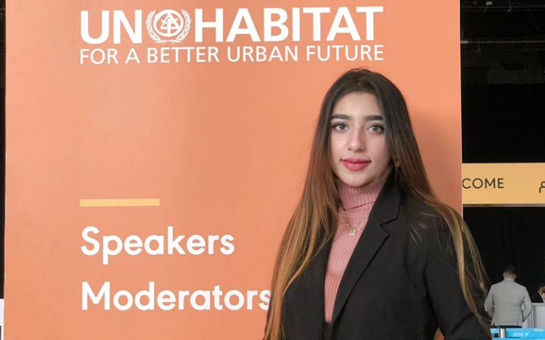 An image of Aliza Ayaz at UN Habitat