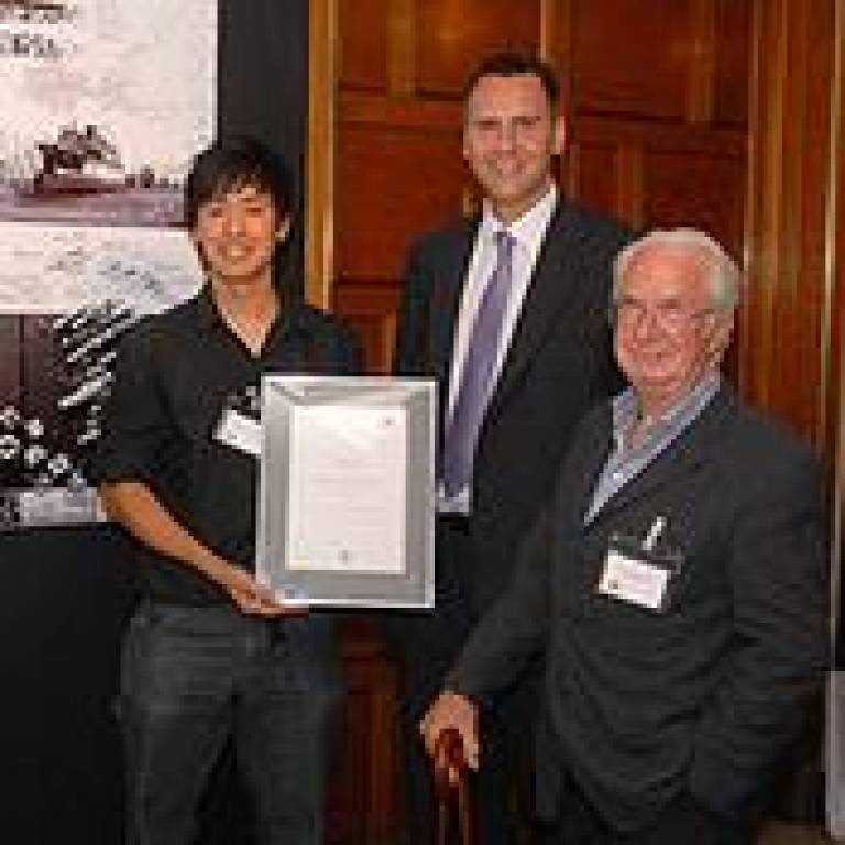Award winner Anthony Lau, a student at the UCL Bartlett