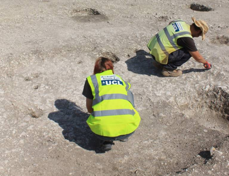Archaeologists at work on a dig