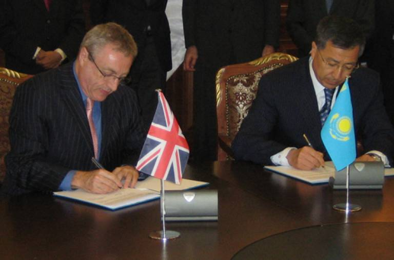 Prof Michael Worton signs cooperation agreement in Kazakhstan