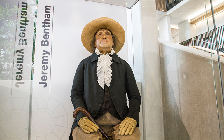 Jeremy Bentham's auto-icon in its new location in the Student Centre