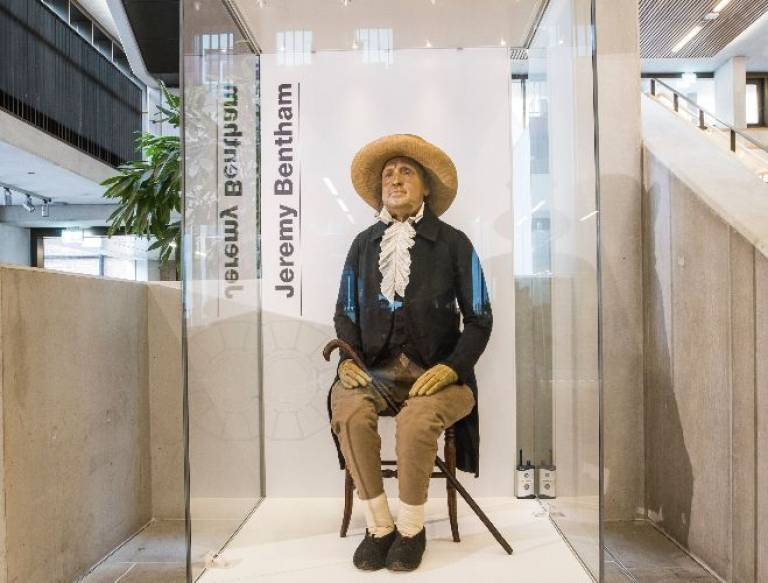 Jeremy Bentham auto icon in cabinet in UCL Student Centre