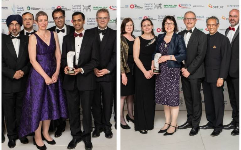 Two BMJ awards: UK research paper (left) and Clinical Leadership (right)