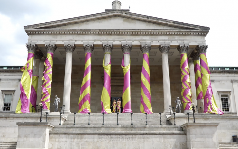 Boon and Baum garments on the portico
