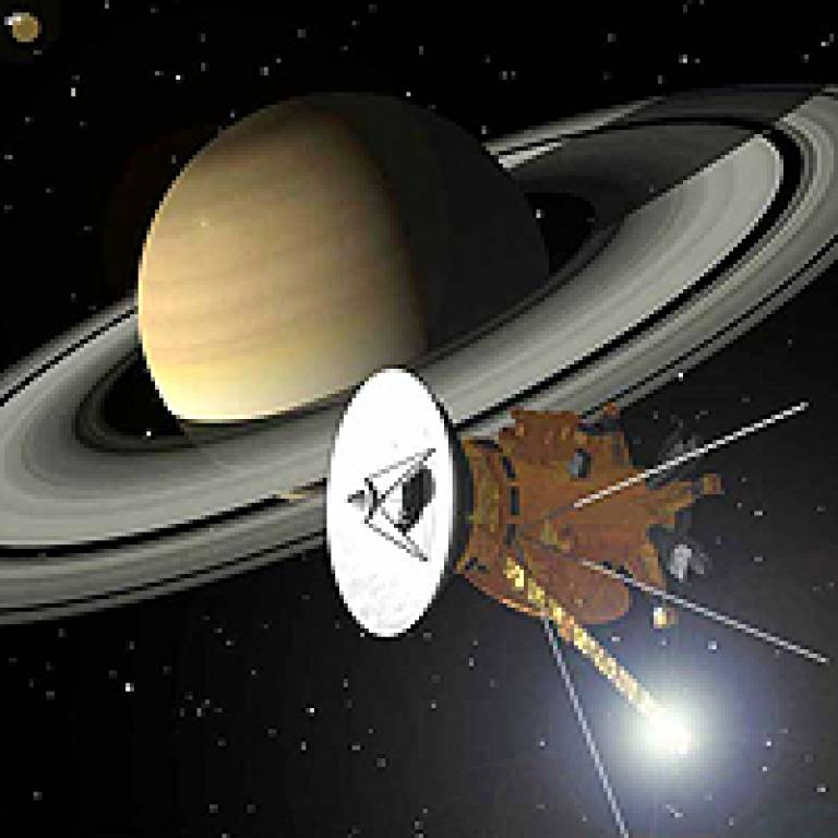 The Cassini spacecraft approaching Saturn