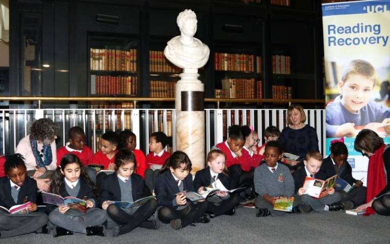 children reading at UCL library