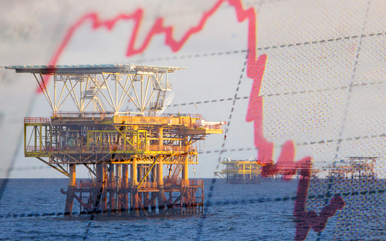 an image of an oil rig with a graph overlayed