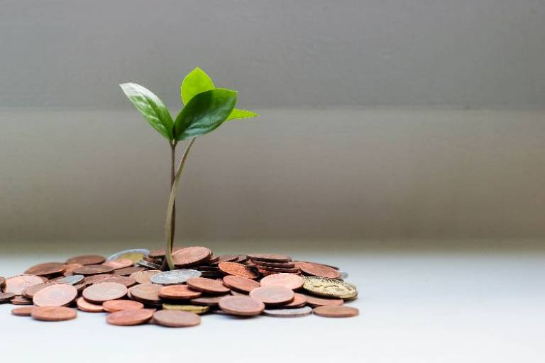 small plant shooting up out of a glass filled with coins rather than soil
