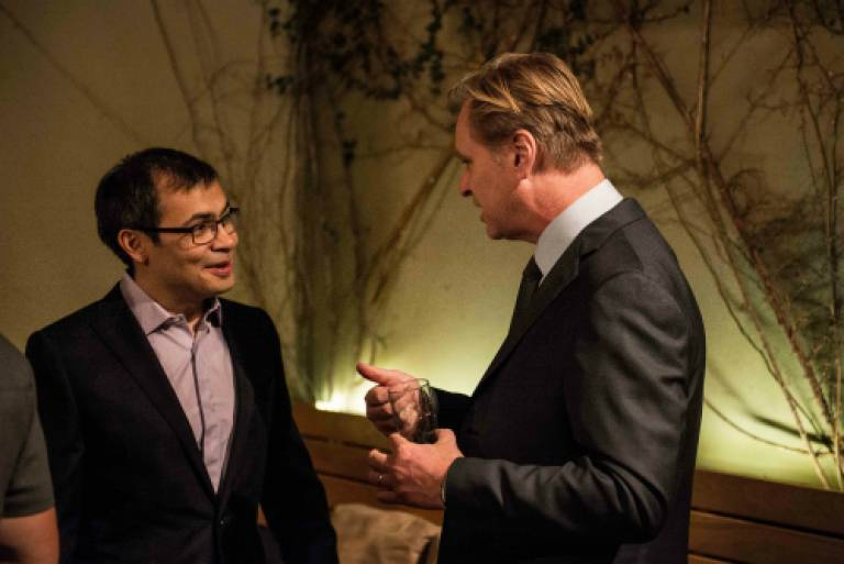 DeepMind co-founder Demis Hassabis with fellow alumnus Christopher Nolan.