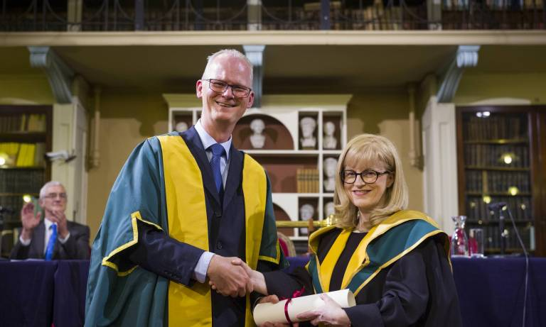 Eleanor Maguire with Professor Peter Kennedy, President of the RIA