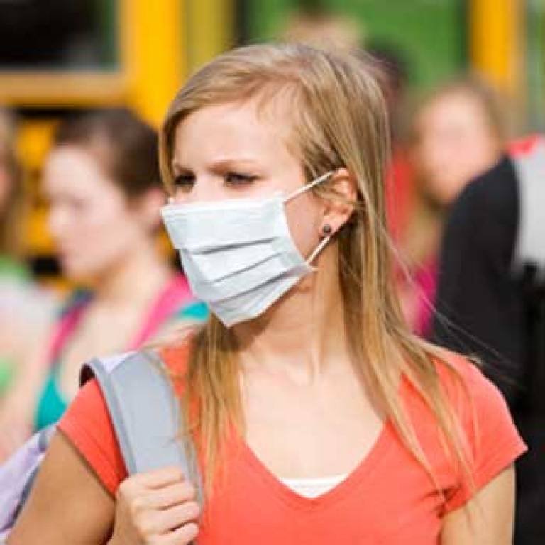 Student wearing protective mask