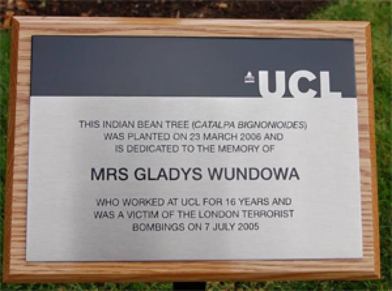 Gladys's plaque