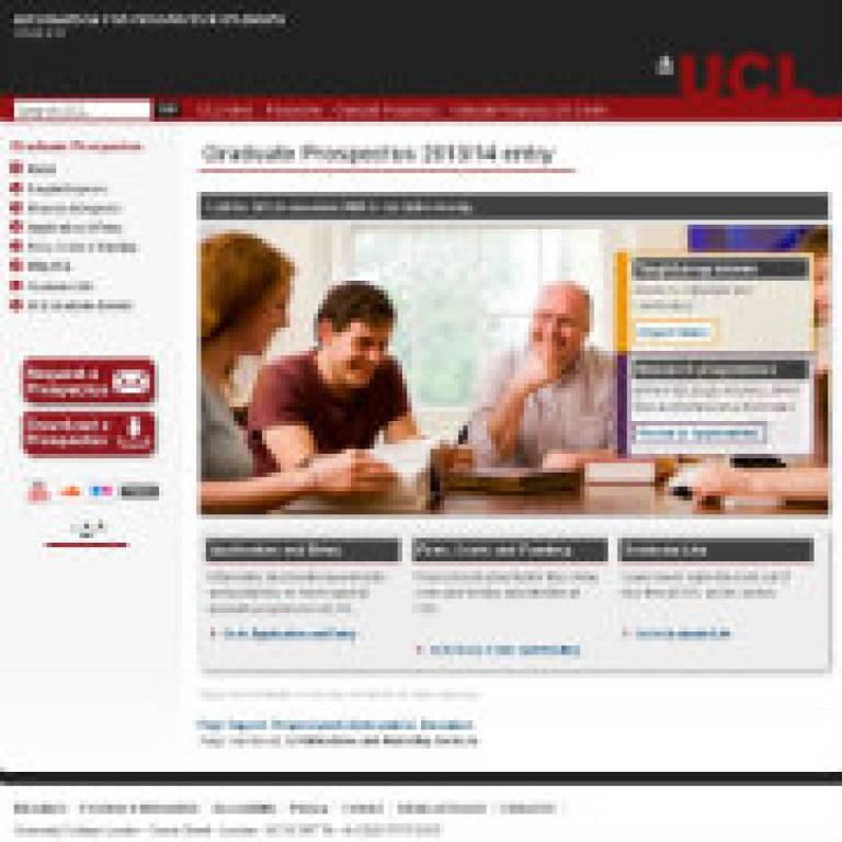 UCL Graduate Prospectus 2013 entry