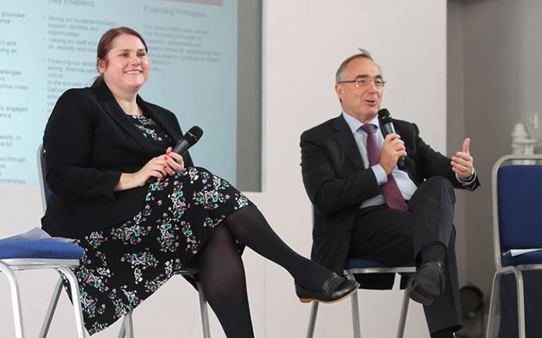 Fiona Ryland and Michael Arthur at a Welcome to UCL event