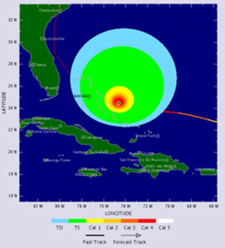 A hurricane in the Atlantic Ocean, as seen by the internet Tropical Storm Tracker
