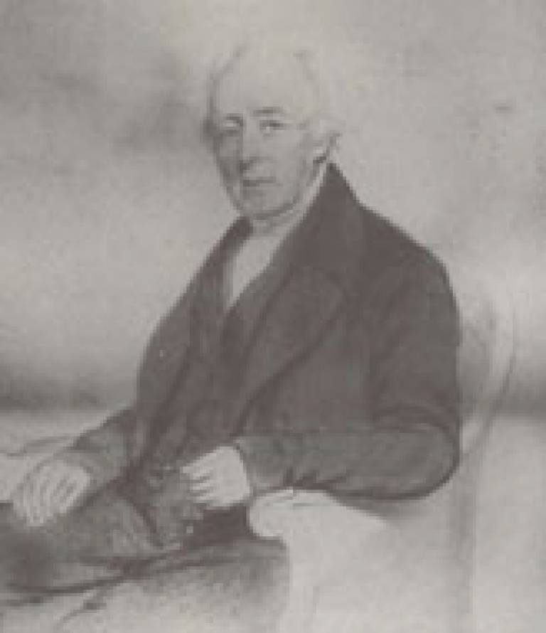 A pencil drawing of Joseph Crabtree, dated 1854