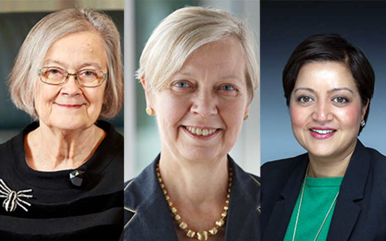 (from left to right) The Rt Hon the Baroness Hale of Richmond DBE, Dame DeAnne Julius DCMG CBE, Rokhsana Fiaz OBE