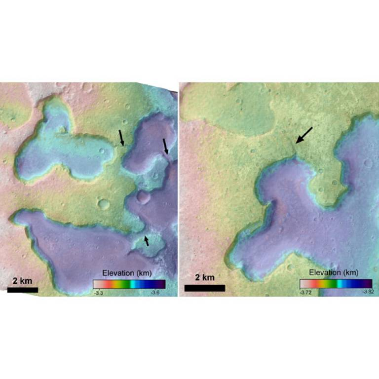Depressions on Mars interpreted as ancient lakes