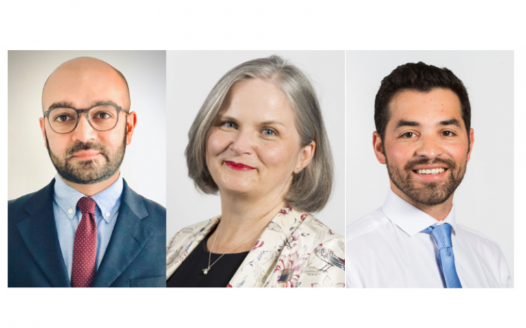 Dr Ahmed Rashid, Professor Deborah Gill, John-George Nicholson (l to r)