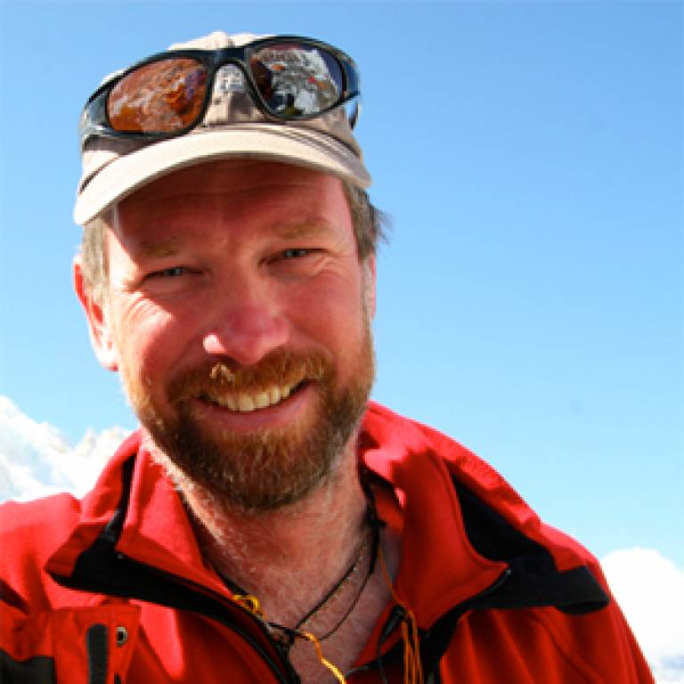 Mike Grocott at the summit of Everest