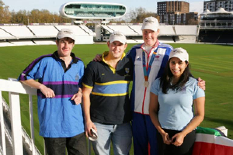 Graham McNicholl (UCL Union rugby), Ed Harrison (Medical School hockey), Frances Houghton and Vishali Thakrar at Lord's Cricket Ground