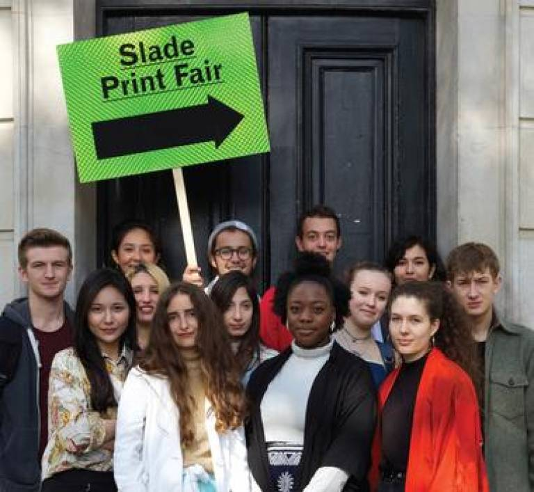 A group of Slade School of Fine Art students promote the print fair