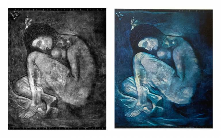 X-ray image of lost Picasso (left), colour recreation (right)