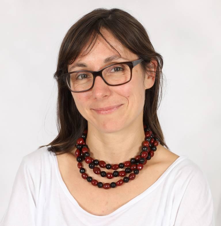 Portrait shot of Professor Ewa Paluch, seated