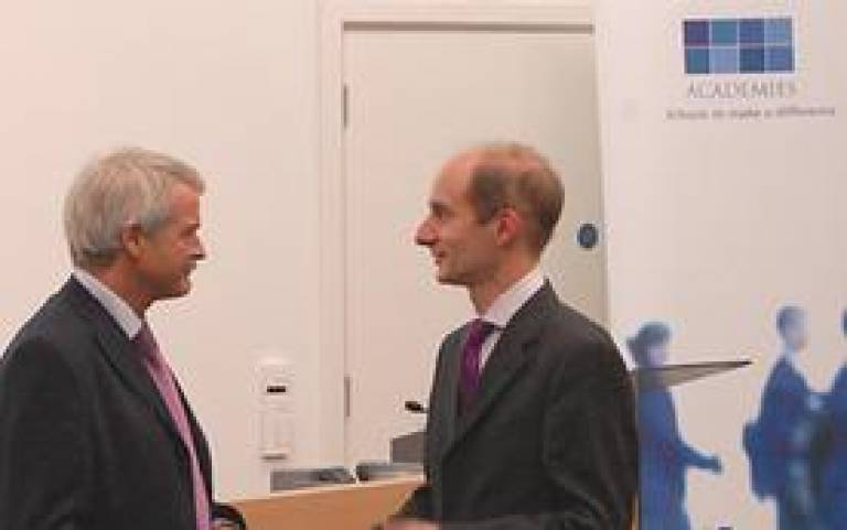 UCL President and Provost Professor Malcolm Grant with Lord Adonis